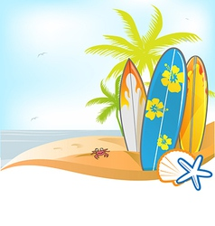 summer background with surboard vector image vector image