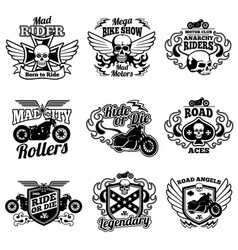 Vintage motorcycle labels motorbike retro vector