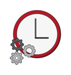 Wall clock and gears icon vector