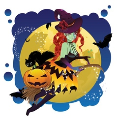 Witch and Full Moon9 vector image vector image
