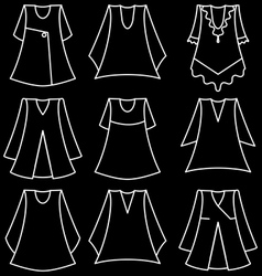 Set of fashionable dresses for girl vector