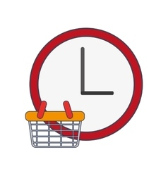 Wall clock and shopping basket icon vector