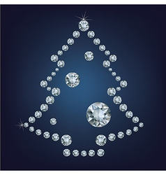Christmas tree made a lot of diamonds vector image