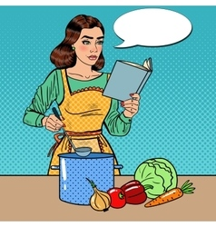 Pop art housewife cooking soup in the kitchen vector