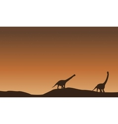 Scenery of argentinosaurus on the hill vector
