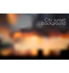 Blurred sunset background evening cityscape vector
