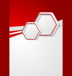 red and grey flyer design with hexagons vector image