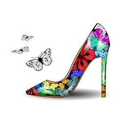 Shoe with butterflies vector