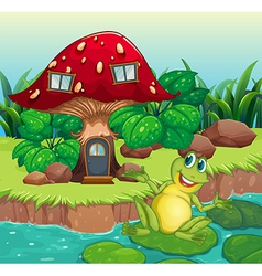 A frog and a mushroom house vector