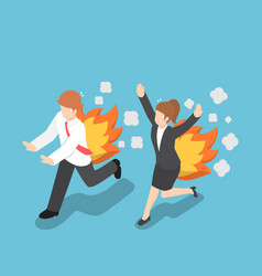 isometric businessman running with back on fire vector image