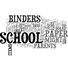 Back to school binders and paper items text word vector