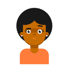 Afraid facial expression of black girl avatar vector