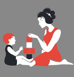 Beautiful silhouette of mother and baby playing vector image