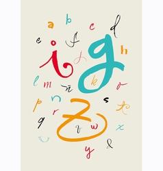 Calligraphic hand written lowercase alphabet vector image