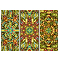 Set Of Cards With Oriental Patterns vector image