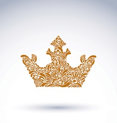 Flower-patterned decorative crown art royal symbol vector