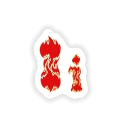 Sticker fiery font red letter i on white vector
