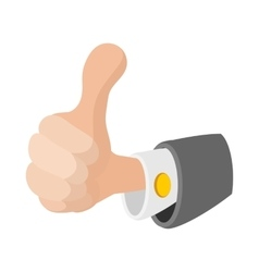 Thumb up gesture icon cartoon style vector image