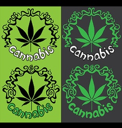 Marijuana cannabis leaf symbol stamps vector