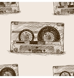 Audio cassette sketch seamless pattern vector