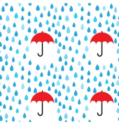 Rain drops and umbrella seamless pattern vector