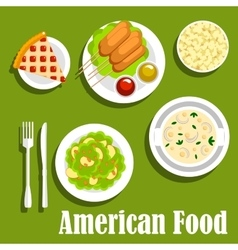 American lunch flat icon with fast food desserts vector