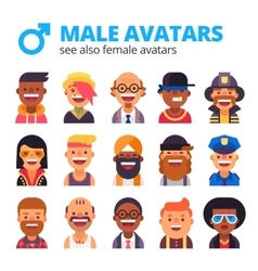 Set of cool male avatars modern flat design vector