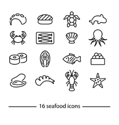 Collection of seafood line icons vector