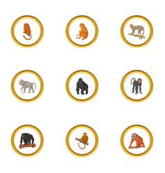ape icons set cartoon style vector image vector image