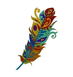 Bright colored bohemian boho bird feather vector