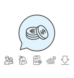 Coins money line icon banking currency vector