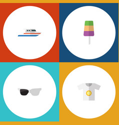 Flat icon beach set of clothes boat spectacles vector