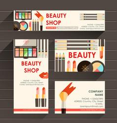 Flat ready design template for makeup artist vector