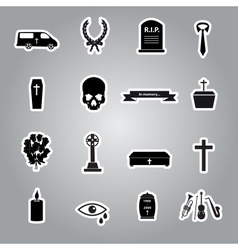 Funeral stickers set eps10 vector