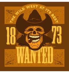 Gangster skull with cowboy hat and cigar vector image vector image