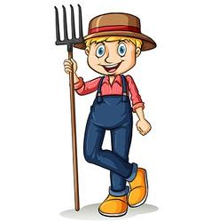 Gardener holding a rake vector