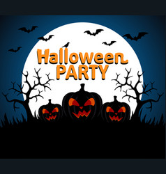 halloween party background blue vector image vector image