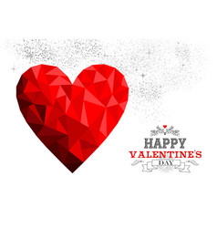 Happy valentines day red low poly heart love card vector