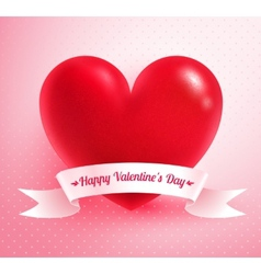 Heart with paper banner vector image