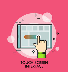 index finger and tablet pc concept of application vector image