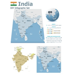 India maps with markers vector