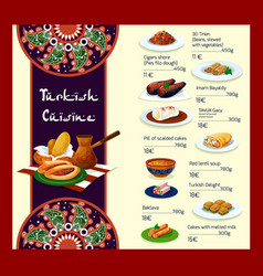 Menu template of turkish cuisine restaurant vector