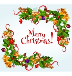 Merry Christmas poster Garland frame vector image