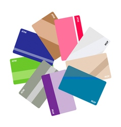 Pile of credit cards on white background vector