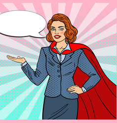 pop art super businesswoman in red cape vector image vector image
