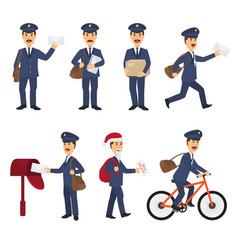 Postman mailman delivers mails in postbox vector