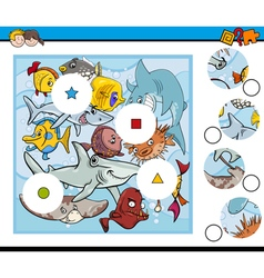 sea life match pieces game vector image vector image