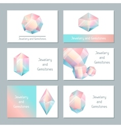 Set of business cards with geometric crystals and vector image