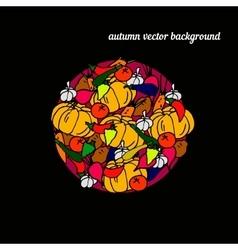 Set of harvest autumn background Round frame of vector image