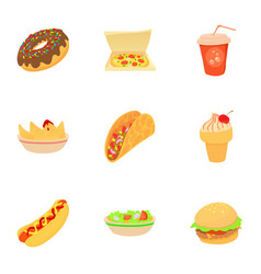 Snack icons set cartoon style vector